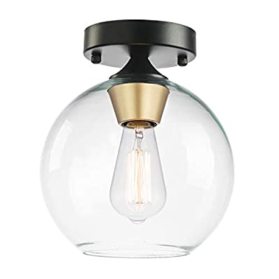 POPILLION Clear Glass Semi Flush Mount Ceiling Light , Black Gold Close to Ceiling Light, Industrial Ceiling Light Fixture for Hallway, Dining Room, Living Room ,Bedroom, Entryway, Cafe, Bar, Foyer