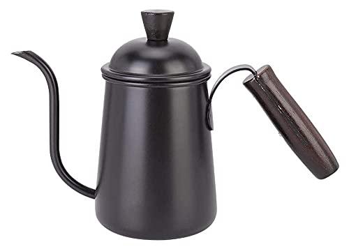 Coffee Pot Gottle Kettle 650ml Mano fabricante de café de la mano de grado 304 de acero inoxidable para té para hacer uso del hogar (Color : Black, Size : 25.5x9x17cm)