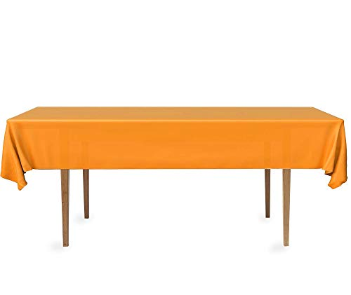DecorRack 2 Rectangular Tablecloth -BPA- Free Plastic, 54 x 108 inch, Dining Table Cover Cloth Rectangle for Parties, Picnic, Camping and Outdoor, Disposable or Reusable in Orange (2 Pack)