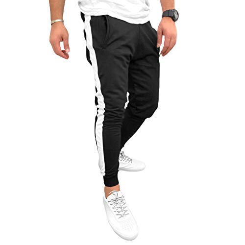 Yying Hombre Raya Pantalones Deportivos Cintura Elásticos Cordón Pantalones de Chándal Skinny Pantalone Casuales con Bolsillo Lateral para Fitness Joggings Workout