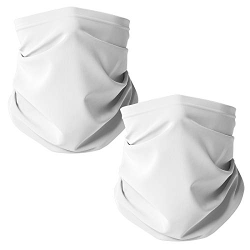 Gaiter King, Neck Gaiter Cooling Face Mask Made in California from 100% Breathable Polyester – Moisture Wicking Facial Protection from Sun, Dust, Cold, Wind (White 2 Pack)