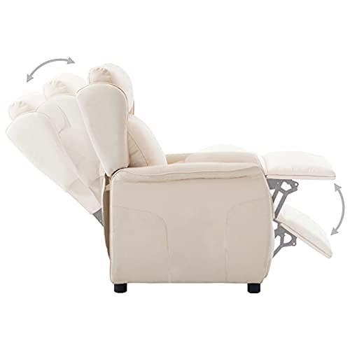 vidaXL Relaxsessel Elektrisch Verstellbare Fußstütze Rückenlehne Fernsehsessel Ruhesessel TV Sessel Liegesessel Polstersessel Liegestuhl Creme Stoff