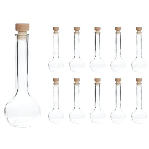 slkfactory - 10 Bottiglie di Vetro vuote da 200 ml, per liquori, Grappa, aceto, Succo, Vino, Olio