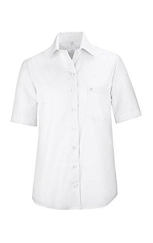 GREIFF Damen-Bluse mit New Kent-Kragen   Kurzarm   Bügelfrei   Eine Brusttasche   100% Baumwolle   Farbe: Weiß   Größe: 48