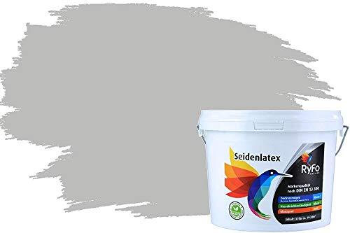 RyFo Colors Seidenlatex Trend Grautöne Perlgrau 3l - bunte Innenfarbe, weitere Grau Farbtöne und Größen erhältlich, Deckkraft Klasse 1