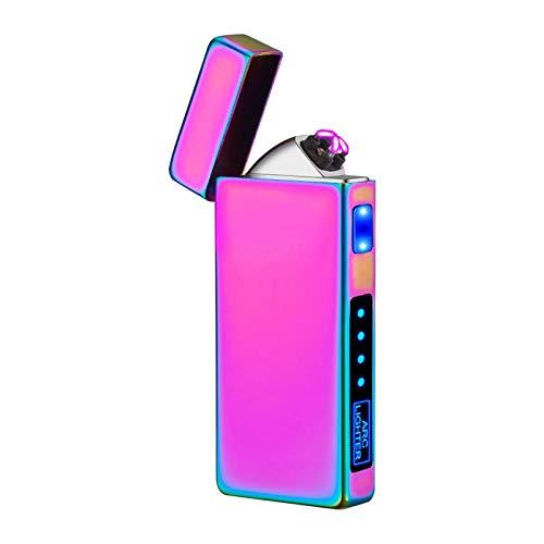 Moslate Accendisigari, accendisigari elettrici Ricaricabili Dual Arc, USB Vento Antivento Accendino elettronico Accendisigari LCD Display Batteria per Sigarette Candele fuochi d'artificio