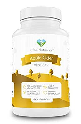 Apple Cider Vinegar Capsules Providing 500mg | 120 Capsules | Premium Quality Weight Loss Aid | Vegan and Vegetarian Friendly | Manufactured in The UK