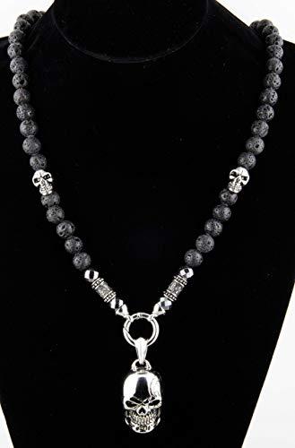Kette für Herren Männer Halbedelstein Totenkopf Halskette Rosenkranz Onyx Schmuck schwarz Perlenkette Bikerschmuck Skull Edelstahl Gebetskette Geschenk Gothik Matt Lava Handmade