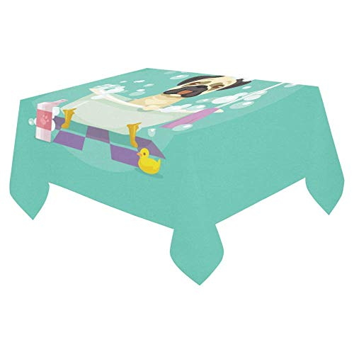 LIS HOME Lustiger Karikatur-Mops-Hund in der Badewannen-Tabellen-Abdeckungs-Baumwollleinenhauptdekor-Tischdecken-Rechteck-Tabellen, Esszimmer, Picknicks, Parteien