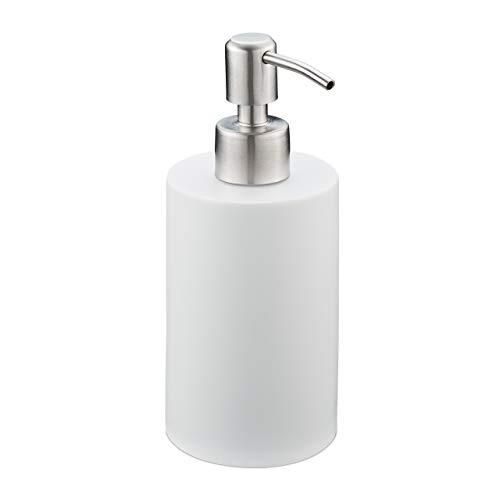 Relaxdays Seifenspender, 180 ml, nachfüllbar, Bad, WC, Küche, Flüssigseifenspender, Polyresin, Edelstahlpumpe, weiß