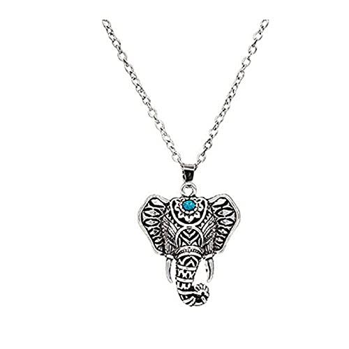 Aiasiry Collar de Elefante de Estilo étnico Retro Collar con Colgante de Cabeza de Elefante Hueco para Mujer Hombre (Plata)