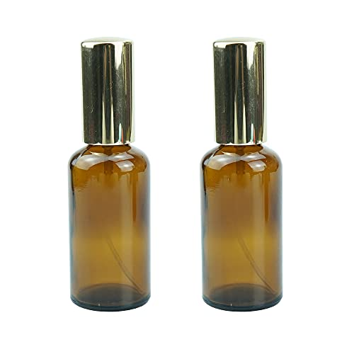 SATIS Amber Glass Spray Bottle, 2Pcs, With Golden Empty Fine Mist Sprayers, Size 10ml~100ml Container for Beauty, Perfume, Make up, Hair Dressing, Cleaning, Essential oils. (50ml)