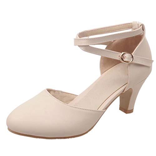 KIKIVA Damen Kitten Heels Pumps mit Kleinem Absatz und Knöchelriemen 5cm Absatz Riemchen D'orsay Schuhe (Beige, 37)