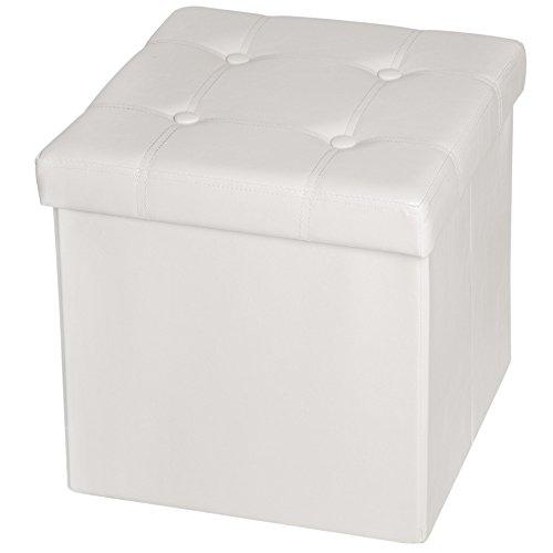 TecTake Asiento Plegable arcón Asiento puf ordenación Caja de almacenaje 38x38x38 cm Blanco (No. 401473)