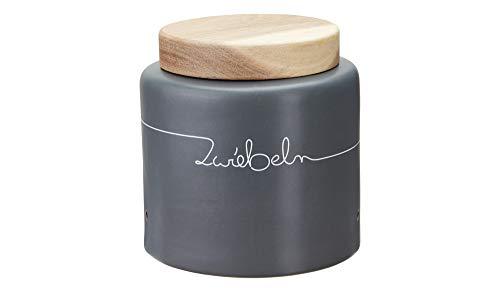 KHG Zwiebeldose Vorratsdose Keramik grau anthrazit mit Holz-Deckel Dosenaufdruck Zwiebel