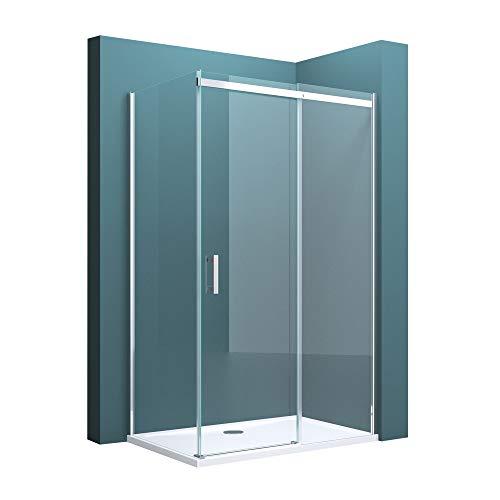 Duschabtrennung Ravenna18 mit Duschtasse in Klarglas ESG mit NANO 90x120cm Dusche mit Schiebetür EckEinstieg: Rechts