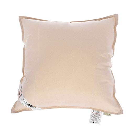 """HOMESCAPES Organic Cotton Cushion Pad 65 x 65 cm (26"""" x 26"""") Inner Insert with Super Microfibre Hypoallergenic Synthetic Filling Machine Washable"""