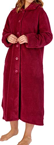 Slenderella Damen weiche rosa Dicke Waffel Fleece Kragen Knopf Oben Bademantel Morgenmantel Haus Mantel Größe XL 46 48
