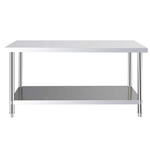 FIDOOVIVIA Kitchen Catering Table, Heavy Duty Work Bench, Kichen Prep Table Stainless Steel Double Layer for Commercial and Home 150 x 60 x 80cm(LxWxH)