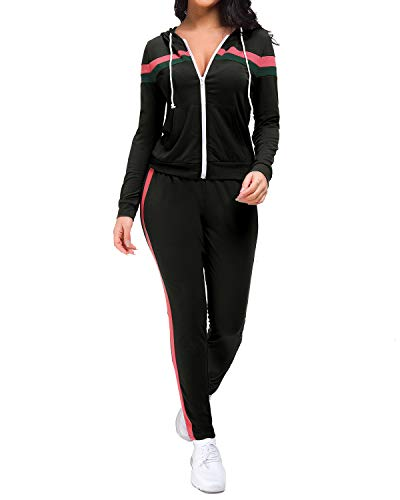 Unifizz Women's 2 Piece Outfits Zip Hoodie Sweatshirt & Sweatpants Sweatsuits and Plus Size Tracksuit Sets Jogging Suit Schwarz#1 XXX-Large