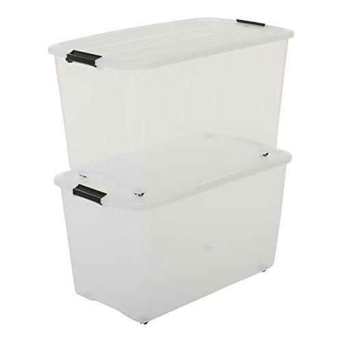 Iris Ohyama, 2er-Set stapelbare Aufbewahrungsboxen auf Rollen mit Klickverschluss - Top Box Roller TBR-70 - plastik, transparent, 2 x 70 L, L68 x B39 x H37,8 cm