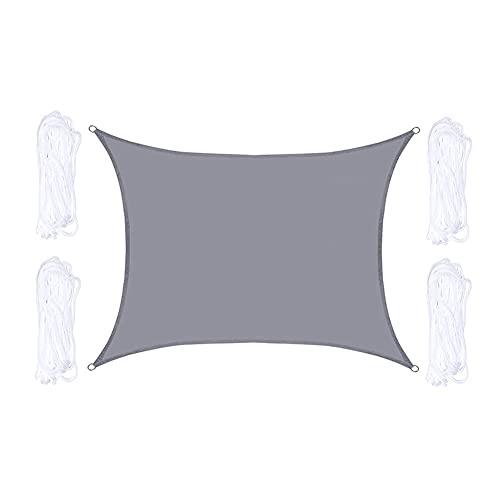 QINZC 3x6m Toldo Vela De Sombra Rectangular Toldos Exterior Terraza 90% ProteccióN Rayos UV Impermeable Transpirable para JardíN Patio Terraza BalcóN Exteriores,Gris