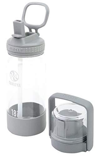 【タケヤ公式】ゴーカップ クリアボトル 0.52L バンドルセット 500ml (グレー) ストロー コップ キッズ 子供 水筒 入園 入学 軽量 軽い プラスチック 透明 可愛い おしゃれ シンプル フタ2種 セット トライタン