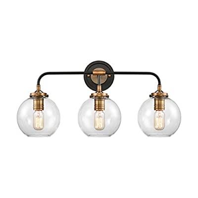"WILDSOUL 40043ABCL Modern Farmhouse 3-Light Globe Shade Bathroom Vanity Light Fixtures, Clear Glass Wall Sconce Bath Mirror Lighting, Oak Wood and Brass Parts, Matte Black and Brass Finish, 25.5"" W"