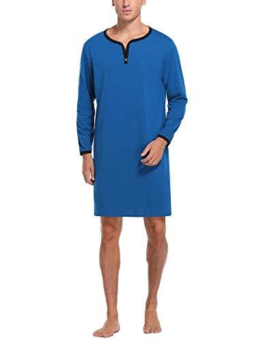 Sykooria Herren Nachthemd Langarm Schlafanzugoberteil Einteiliger Schlafanzug Lang Nachtwäsche für Spa Krankenhaus