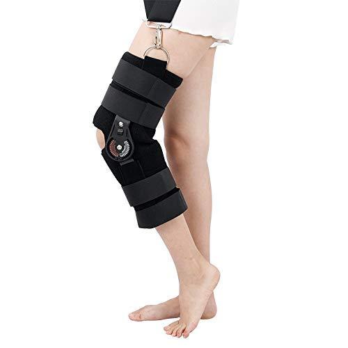 WAJJ Soporte de articulación de Rodilla Transpirable Ajustable Ligamento Lesiones Deportivas Entrenamiento para Caminar Protector de recuperación de piernas Negro