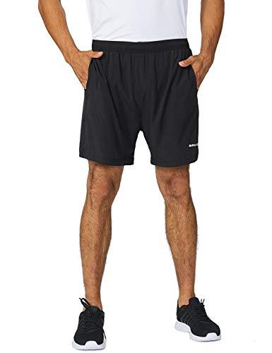 BALEAF Men's 5' Running Athletic Shorts Zipper Pocket for Workout Gym Sports Black Size M