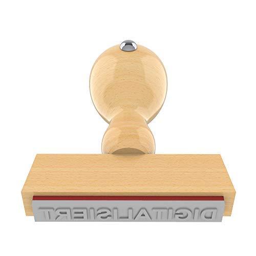 Holzstempel DIGITALISIERT in 55x10 mm, 1-zeiliger Text in Arial fett, 18 pt, klassischer Firmenstempel