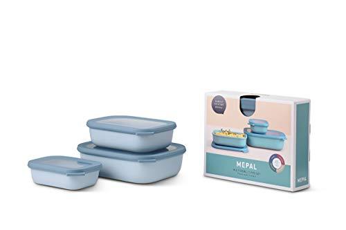 Mepal Multischüssel-Set Cirqula rechteckig 3-teilig (500+1000+2000 ml) Nordic Blue – Schüsselset – Frischhaltedosen – Vorratsdosen – stapelbar – spülmaschinenfest, Polypropyleen, Flach