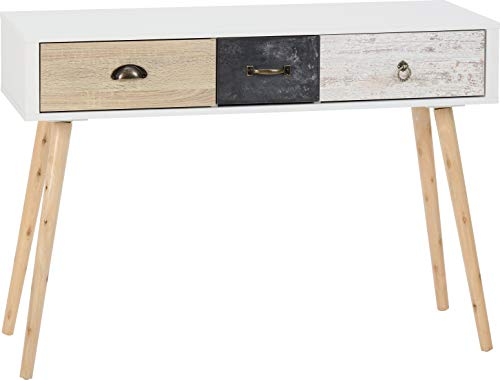 Seconique Nordic 3 Drawer Occasional Table in White/Distressed Effect, One Size