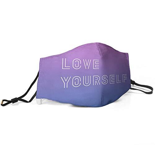BTS-Love-Yourself- Kpop Mundbedeckung für Frauen, verstellbar, wiederverwendbar, Mundschutz gegen Verschmutzung und Staub