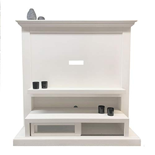 casamia tv-kast televisiekast 148 x 149 x 52 cm Quadro speciaal model grenen wit gekalkt