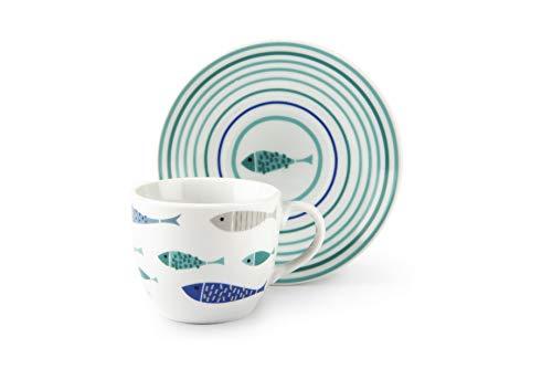 Excelsa North Sea Set 6 Tazzine caffè con Piattino, 90 milliliters, Porcellana