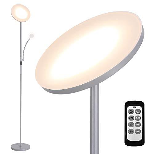 Deckey Lampara de Pie, Lampara de Pie Moderna, 7 W/25W, Ángilo Ajuestable, Control Remoto y Tactil, para Salón, Dormitorio, Color Gris