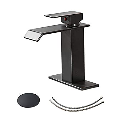 BWE Waterfall Commercial Spout Single Handle One Hole Bathroom Sink Faucet Oil Rubbed Bronze Deck Mount Lavatory