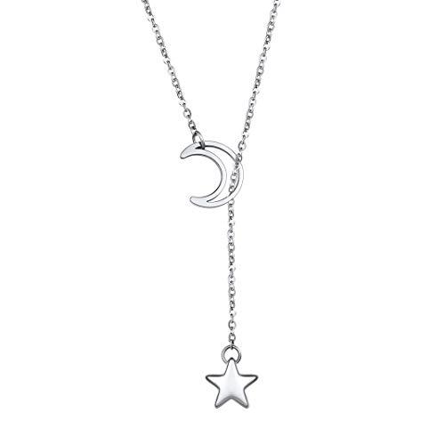 GOLDCHIC JEWELRY Collana con Ciondolo a Forma di Stella a Mezzaluna a Forma di Luna, Catena Lunga in Acciaio Inossidabile 316l per Donna