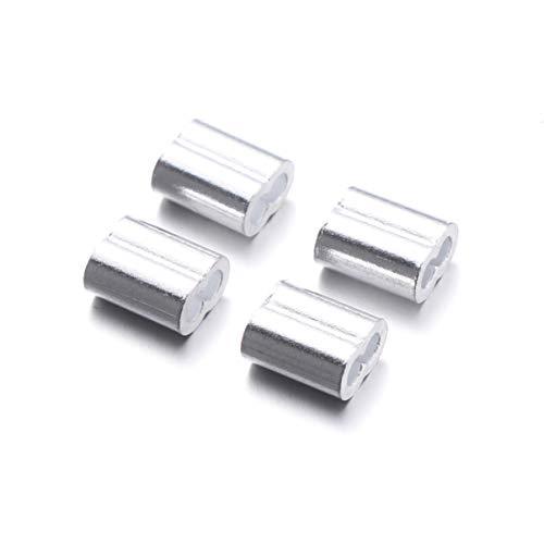 Cabilock 100Pcs Aluminio Prensado Bucle Manga Doble Barril Virola Prensado Bucle Mangas...