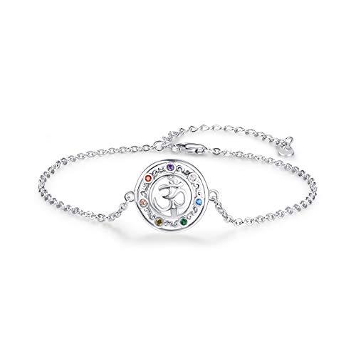 Chakra Armband, 925 Sterling Silber Yoga Aum Om Ohm Amulett Link Armband Yoga Schmuck Yoga Geschenke für Frauen und Mädchen
