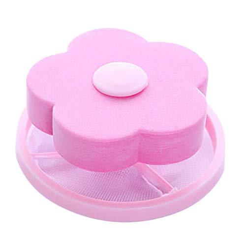 1 x wiederverwendbare, schwimmende Fussel-Haarfischen-Netztasche für Top-Loader Waschmaschine mit Blumen-Wäsche-Filterbeutel Haarfilter-Netz für Haushalts-Werkzeug Tierhaarentferner rose