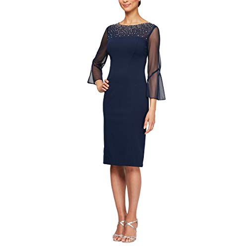 Alex Evenings Women's Short Shift Dress with Embellished Illusion Detail, Navy/Silver, 6 (Apparel)