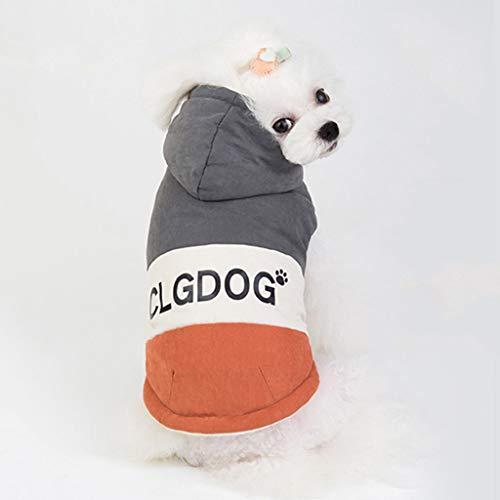 Fenverk Hundekleidung Für Kleine Hundepullover Hund Kleidung Herbst Winter Haustier Katze Hundebekleidung Sweater Warm Kapuzenjacke Hundemantel(A Grau,L)