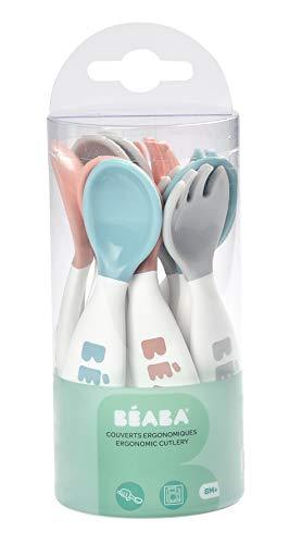 Béaba - Juego 6 cucharas ergo con 4 tenedores, colores surtidos