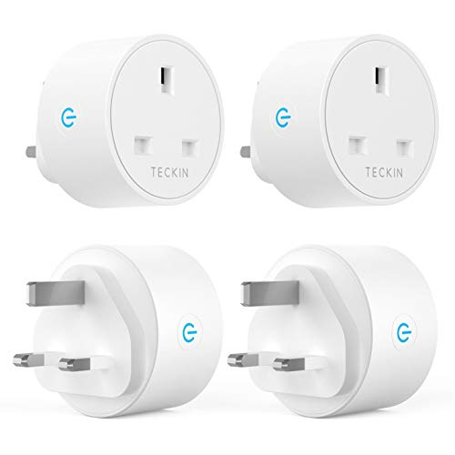 Smart Plug WiFi Outlet Teckin Smart Sockets 13A Works with Amazon Alexa Google Home and SmartThings Mini Plug Wireless Remote Control Timer Plug Switch, No Hub Required (4 Pack)