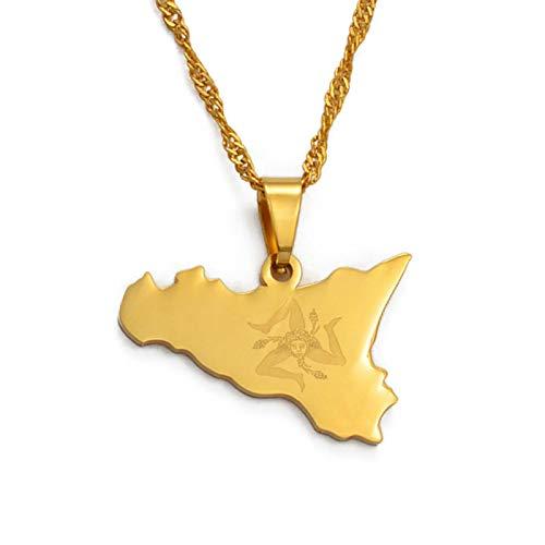 DDSH Sizilien, Italien Karte Anhänger Halskette, Edelstahl / Gold, Sizilien Italien Geschenk Geschenk # 025121
