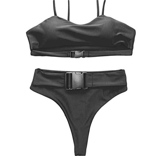 Swimsuit Womens Sexy Scoop Neck Riemen Ausschnitt High Cut Thong 2 STÜCKE Bikini Sets Badeanzug (Farbe : Schwarz, größe : M)