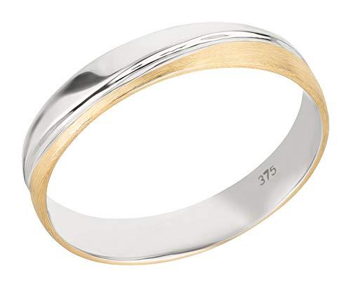 Ardeo Aurum Herrenring Trauring aus 375 Gold Bicolor Gelbgold Weißgold 4 mm Breite massiv matt Ehering Modell 109-237 Größe 60